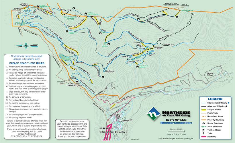 Trail Map For Mountain Biking And Hiking On Northside At Taos Ski - At trail map